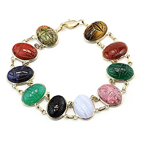 14k Yellow Gold Handmade Double Link Scarab Bracelet With Oval Gemstones 7.25 Inches by amazinite