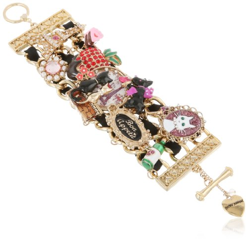 Betsey Johnson Paris is Always a Good Idea Paris Cat Multi-Charm Wide Toggle Bracelet, (Multi Charm Toggle Bracelet)