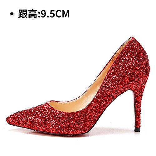 HUAIHAIZ Tacones de mujer Zapatos de boda hembra los zapatos de tacón alto botas cristal noche zapatos Zapatos de novia Red 9.5CM