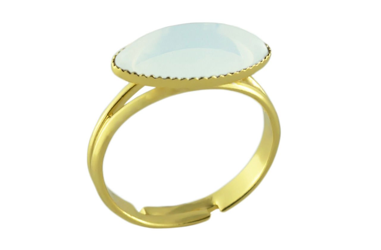 24K Gold Plated Fantasy Ring Universal Adjustable Size White Opal Moonstone Flower Petal Oval Czech Glass Stone Handmade BohemStyle