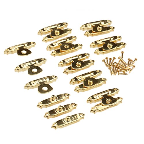 Dophee 10Pcs 2615mm Gold Vintage Mini Hasp Latches Gift Chests for Jewelry Gift Box Wooden Case Decoration - Vintage Gold Mini