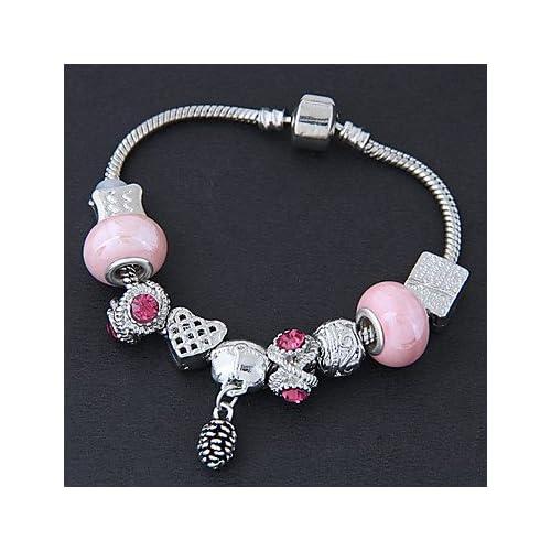 MJW&SL Femme Bracelets de rive Strass Mode Alliage Bijoux Quotidien Bijoux de fantaisie Rose