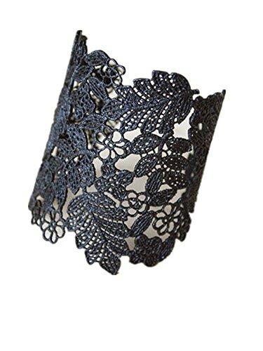 Dot & Line chantilly lace cuff bracelet bangle (Black)