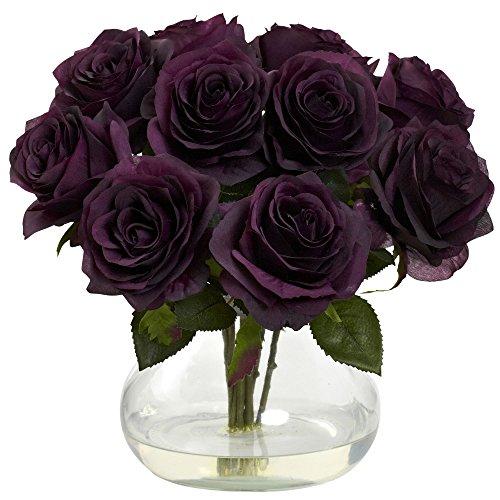 Nearly Natural 1367-PE Rose Arrangement with Vase, Elegance - Rose Warehouse