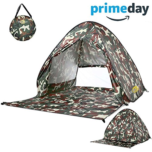 Monojoy Automatic Pop Up Tent Beach Tent Sun Shelter Shade Instant Tent Outdoor Quick Cabana Portable Canopy 2-3 Person Easy Lightweight UV Tents Umbrella 50+ Protection for Kids Infant Baby (Camouflage Canopy)