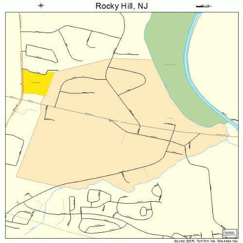 Large Street & Road Map of Rocky Hill, New Jersey NJ - Printed poster size wall atlas of your home town (Jersey Road Rockies)