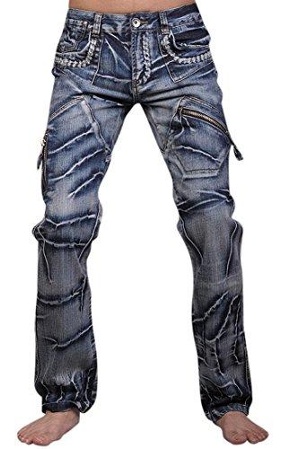 Jeansian Hombres Designed La Recto-Pierna Casual Slim Lavado Denim Jeans Pantalones Pant J018 Blue