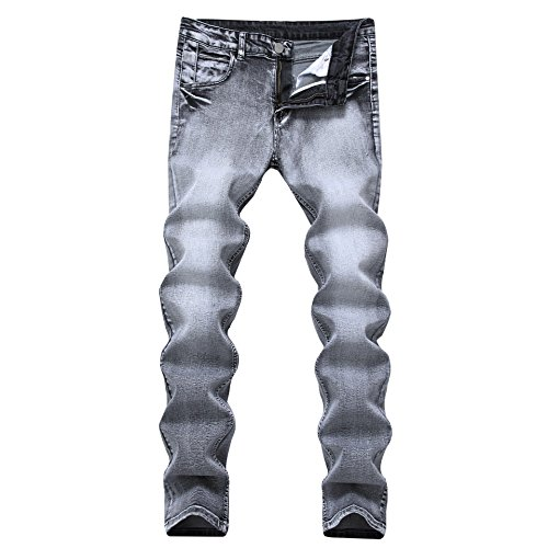 ColourfulMen Stretch Back Flap Pocket Slim Fit Straight Distressed Denim Pants Grey 28 Back Flap Pocket
