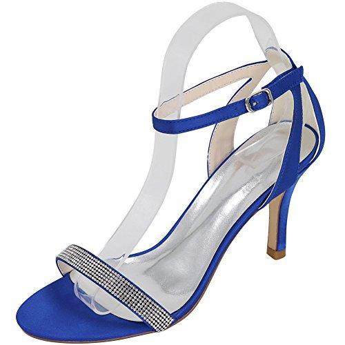 Loslandifen Womens Peep Toe Plattform Höga Klackar Ankelbandet Brud Bröllop Pumpar Sandals Blå