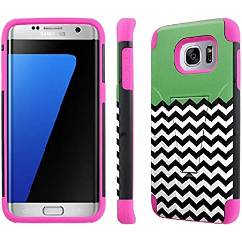 Samsung Galaxy S7 Edge / GS7 Edge [5.5 Screen]Case, [NakedShield] [Black/ Hot Pink] Armor Tough Shock Proof Kickstand Case - [Green Sales