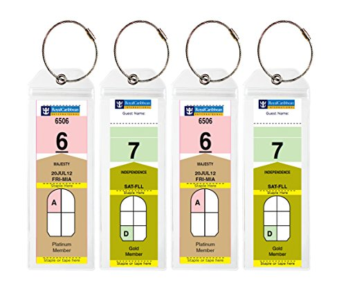 (Cruise Tags - Narrow Cruise Ship Luggage Etag Holder with Zip Seal & Steel Loops for Royal Caribbean and Celebrity Cruises (8 pack))