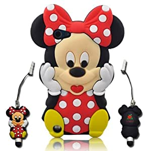 3d Cartoon Minnie Soft Silicone Skin Case Cover for Ipod Touch 5/5g/5th Generation + 3d Minnie Stylus PEN with Anti Dust Plug by lolosakes