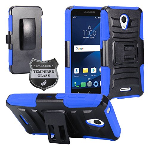 For Alcatel Verso, IdealXcite, CameoX 5044R, Alcatel Raven LTE A574BL, Alcatel U50 5044S - Hybrid Armor Protective Case with Stand/Belt Clip Holster + Tempered Glass - Blue/Black