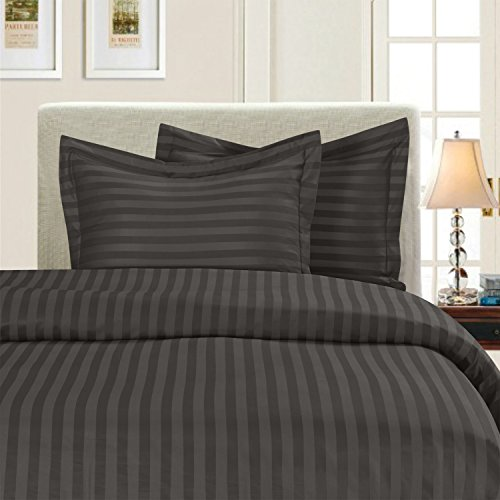Elegant Comfort 1500 Thread Count -Damask Stripes- Egyptian Quality Luxurious Silky Soft Wrinkle & Fade Resistant 3pc Duvet Cover Set, Full/Queen, Gray ()