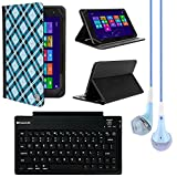 VanGoddy Mary 2.0 Standing Portfolio Case for Double Power Dopo DPM1081 10.1 inch Tablet with Bluetooth Keyboard & Blue Headphones, Blue Checker