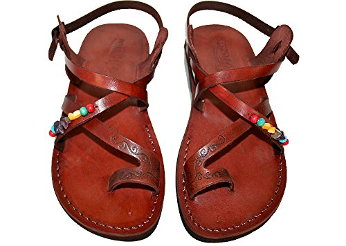 Brown Decor Roxy Unisex Leather Sandals / Genuine Handmade Leather Holy Land Biblical Jesus Sandals (EURO  40)
