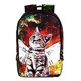 Runningtiger Students Animal Print Lightweight Childrens School Backpacks Computer Laptop Backpack (Colorful Cat)