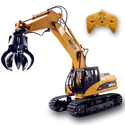 Fistone RC Truck Timber Grab Loader Crawler Material Handler Alloy Gripper Engineer Machine 2.4G Construction Vehicle Remote Control Tractor Excavator with Recharging Battery Hobby Toys for Kids