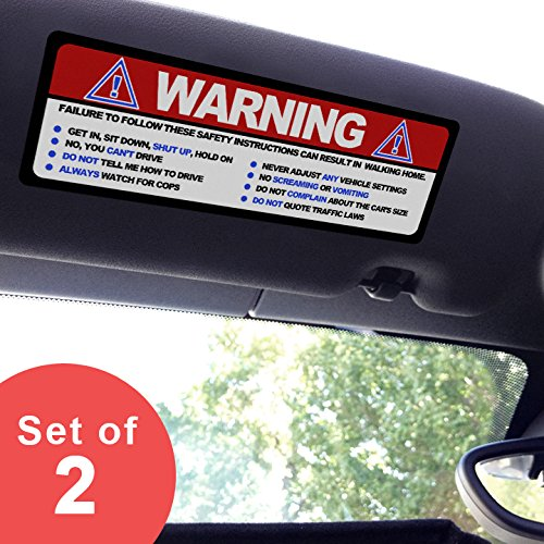 - Artistic Reflection Large - Warning Funny Safety Rules - Visor Sticker Set for Mini Cooper