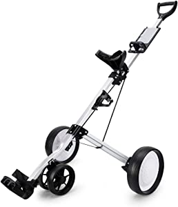 2020 New Push Pull Cart Golf Trolley, Golf 4-Wheel Golf Push Cart with Kettle Stand Scoreboard Golf Cart Light Trolley, Easy Carry and Fold