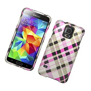 CYstore Graphic Design Hard Cover Case For Samsung Galaxy S5 (Include a CYstore Sylues Pen) - Brown/Pink Check