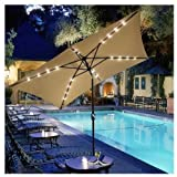 10x6.5ft Rectangular Umbrella w/ Solar LED Lights Beige