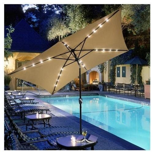 10x6.5ft Rectangular Umbrella w/ Solar LED Lights Beige by Jacoble