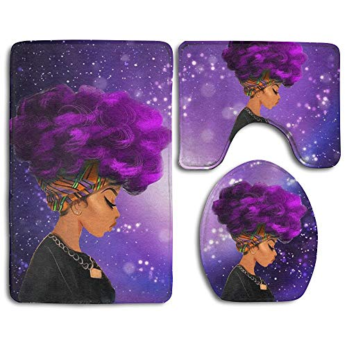 (CHA-LRS.BB Afro Sexy Lady African American Black Women Girl with Purple Hair Skidproof Toilet Seat Cover Bath Mat Lid Cover Starry)