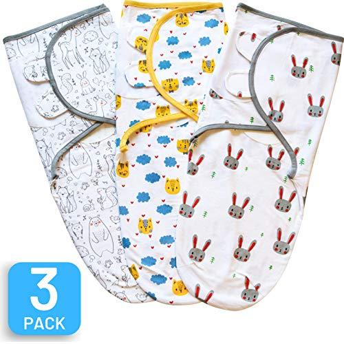 Swaddle Blanket, Baby Swaddle Wrap Sack for Infant (0-3 Month), Adjustable Newborn Swaddle Set, 3 Pack Soft Organic Cotton, Cute Animals...