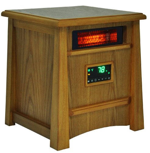 Lifesmart Corp Lifelux Series Ultimate 8 Element Extra Large Room Infrared Deluxe Wood Cabinet & Remote (8 Element Infrared Quartz Heater)