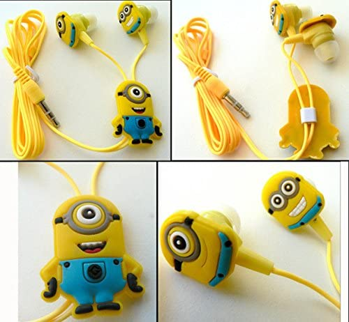 Despicable Me In-ear Headphones Earbuds for Mobile Phone Mp3 Minions Dave Carl 3.5mm Earphones Quality Sound Includes 3 Additional Earplug Covers – Great for Kids, Boys, Girls, Adults, Gifts