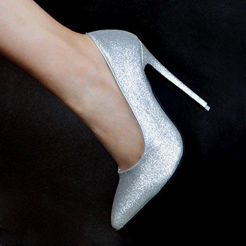 Kolnoo Femmes Handmade 10cm haut talon paillettes parties bureau pompes Chaussures Silver silver NWfIO6Fr