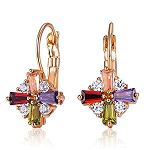 Kemstone Colorful Cubic Zirconia Rose Gold Leverback Earrings for Women Dangling Jewelry for Women