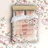 EZON-CH 100% Brushed Cotton Soft Happy Every Day Flower Decoration Design 4 Piece Duvet Cover Set Duvet Cover Flat sheet Pillow Cases Bed Sheet Set(Twin)