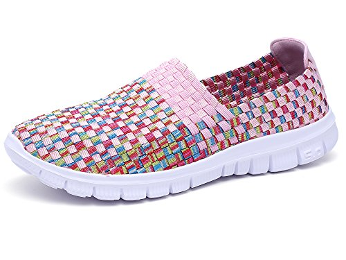 - Konfor Women Multicolor Elasticized Fabric Casual Plaid Weave Flats Slip on Sneakers Walking Shoes (Pink US8.5-9)