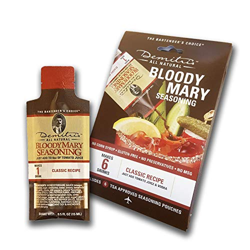 Demitri's All Natural Classic Recipe Bloody Mary Seasoning Mix single serve pouches (Pack of 6)