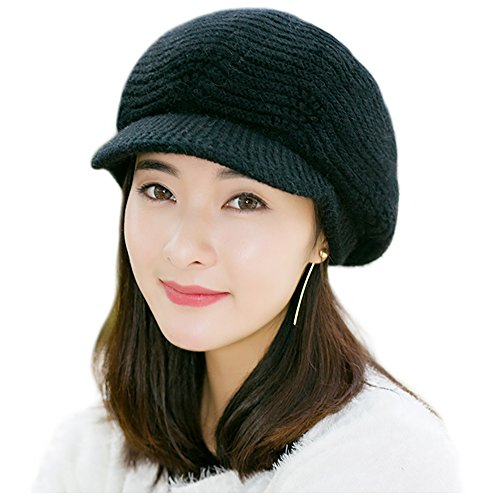 Women Knit Hat, Proboths Winter Soft Knitted Hat Stretch Outdoor Snow Ski Beanie Cap with Visor for Women Girl (Womens Visor Knit Hat)