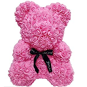 "TOBABYFAT 16"" Teddy Bear Rose Toy Forever Artificial Rose Love Romantic Rose Everlasting Flower for Anniversary Christmas Valentines Birthday Gift 16"