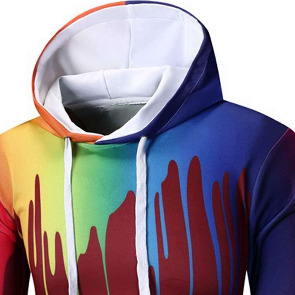 Men Colorful Dripping Print Casual Hooded Sweatshirt Top Long Sleeve Hoodies