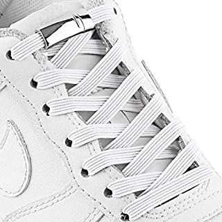 Elastic Shoe Laces - Quick to Install No tie Shoelaces for Kids and Adults(2 pairs) (white)