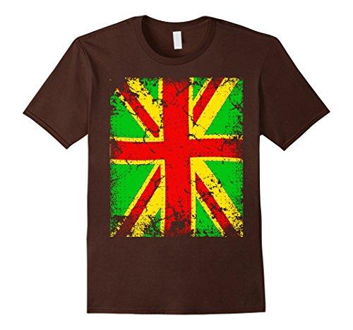Brown Union Jack - Mens Rasta Union Jack Reggae Tshirt XL Brown
