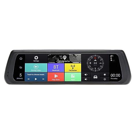 Prettygood7 Cámara de espejo retrovisor DVR para coche, GPS Full HD, cámara de salpicadero