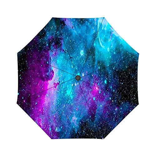 - Folding Umbrella Glitter Nebula Space Travel Umbrella Windproof Automatic Compact Rain Travel Umbrella,Lightweight,Auto Open/Close