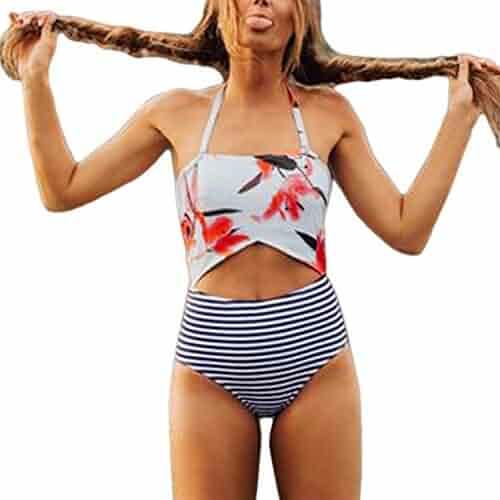 860e1106bac Women One Piece Swimsuit Push-up Padded Bra Stripe Print Swimwear Jumpsuit  Ladies Tankini Sale