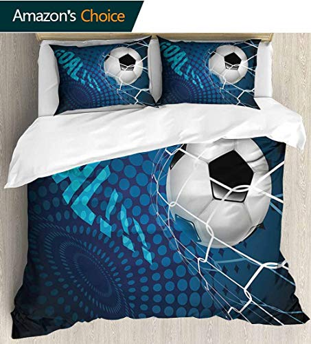 - shirlyhome Soccer Bedding Bedspread,Goal Football Flying into Net Abstract Dots Pattern Background European Sport Colorful Floral Print - 3 Pieces 79