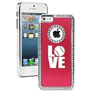 Apple iPhone 5 5S Red 5S1501 Rhinestone Crystal Bling Aluminum Plated Hard Case Cover Love Baseball Softball