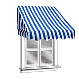 Aleko 8'' X 2'' Window Awning Door Canopy 8-Foot Decorator Awning, Blue And White