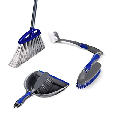 Masthome 4PCS Angle Broom and Brush Dustpan Set Include 1 Hand Brush Dustpan Set,1 Angle Broom,2 All Purpose Brush for Kitchen,Bathroom,Car
