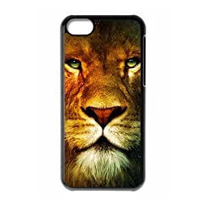 recognised animal lion face Personalized iPhone 5C Hard Plastic Shell Case Cover White&Black(HD image)