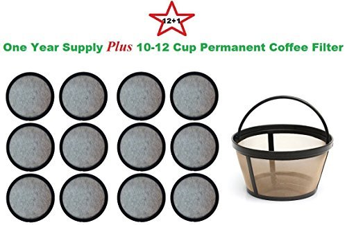 10-12 Cup Permanent Basket-Style Coffee Filter & a set of 12 Water Filters designed to fit Mr. Coffee Coffeemakers GoldT 14297